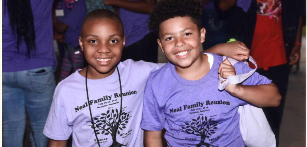 Cousins Samuel Jacson (left) and Taelend McDowell at the Neal Family Reunion in Memphis, Tennessee. Photo credit R. Nameth Photography