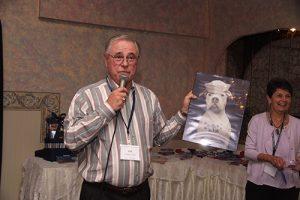 Robert Clark, auctioneer, at USS Eugene Greene reunion.