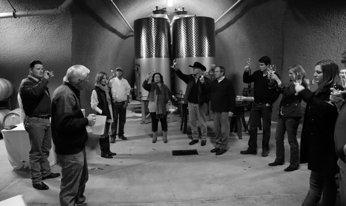 Carrington Family Reunion enjoying a wine tasting in Holman Ranch's exclusive wine caves.