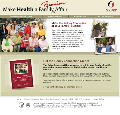 Screen shot of the Family Reunion website: www.nkdep.nih.gov. Click to enlarge
