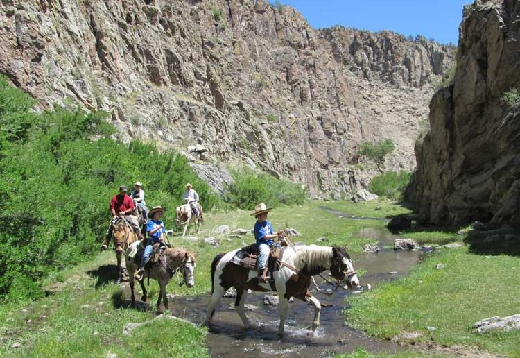 Riding through Taylor Creek Canyon at Geronimo Trail Guest Ranch, Winston, New Mexico.