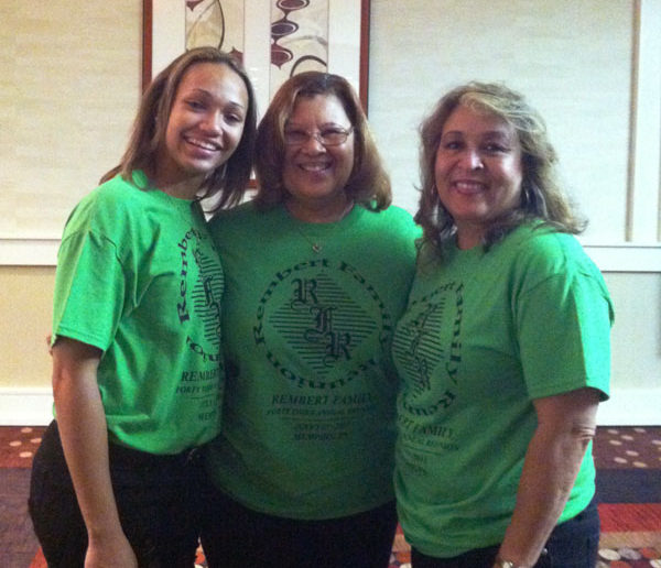 From left to right Shae Curry, Ethel Wilson and Jerre Curry. Shae, daughter and Jerre, mother, are members of the Rembert Family Reunion. The lady in the middle is Jerre's godmother and close friend of Rembert family.