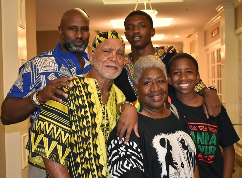 Three generations of the Dixon family (left to right) Shea, his father Johnny, his grandson Osei, wife Marie and grandson Omar.