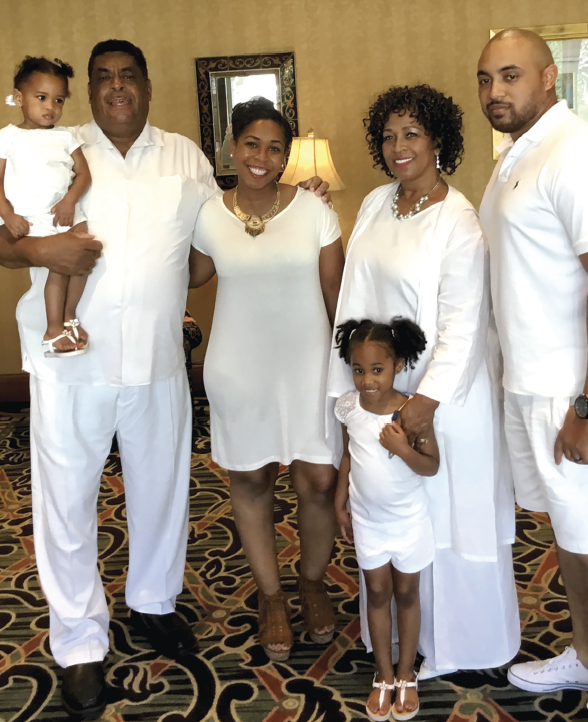 Ava Carter (2), her grandfather, Michael Raby, his daughter Alethea Carter, his wife Alethea Raby and son-in-law Terry Carter; in front, Anias Carter (5).