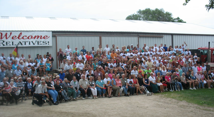 The Seidemanns line up for their portrait at their 80th annual reunion in Newburg, Wisconsin.