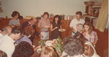A Koslowitz Family Circle meeting, circa 1978. Author Joel Samberg is in the center.