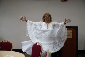 Georgia Donaldson in a Praise Dance at Sunday Morning Service.