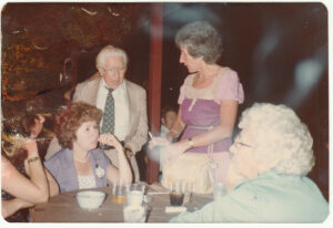 A Koslowitz Family Circle meeting, circa 1972. The man in the center is Louis Kavkewitz, the first of his family to arrive in the US from Poland in about 1910.