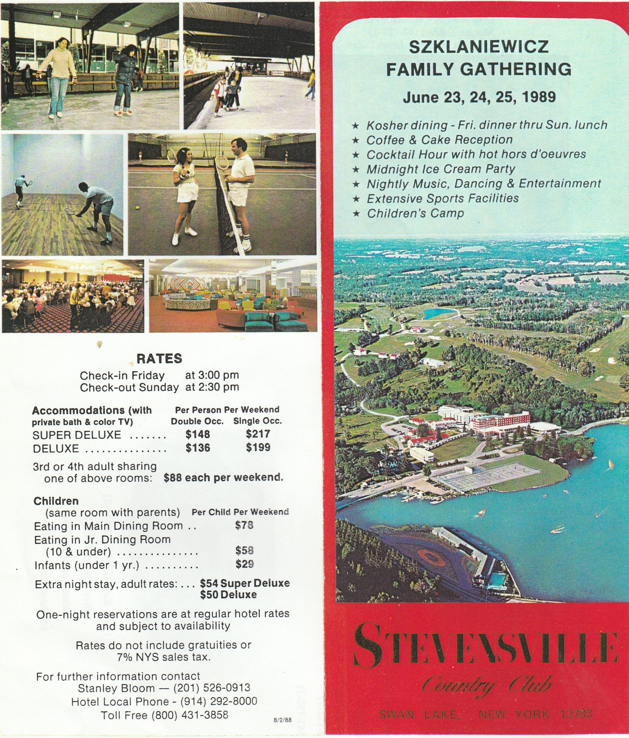The Koslowitz Family Foundation was part of a larger family group called the Szklaniewicz family. In 1989 hundreds of members gathered in the Catskill Mountains for a weekend reunion. Here's a promotional poster from the hotel.