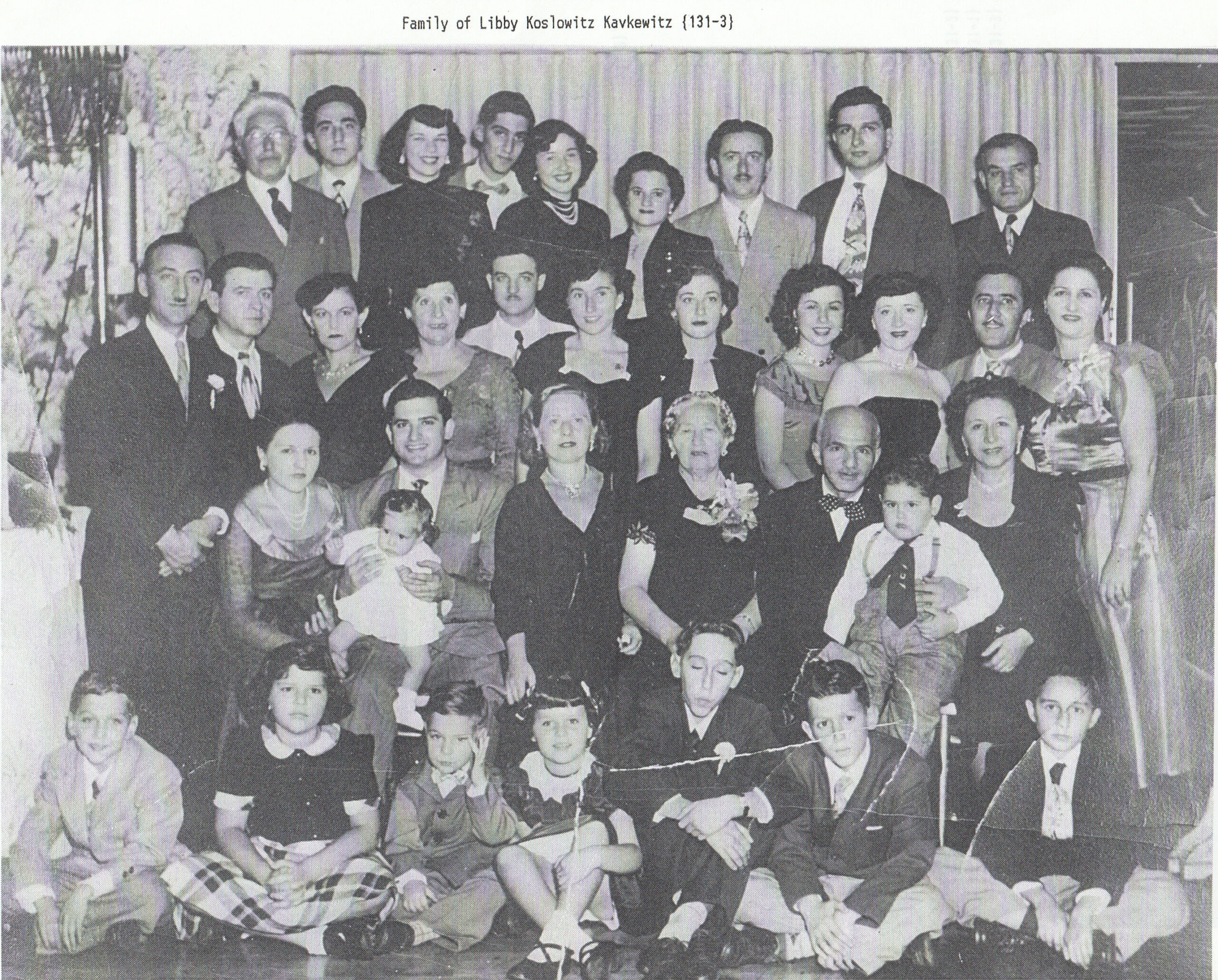 The large Kavfewitz contingent of the Koslowitz Family Foundation--about eight years before I was born (circa 1949). That's Uncle Louis top left, without whom there probably would not have been a family circle.