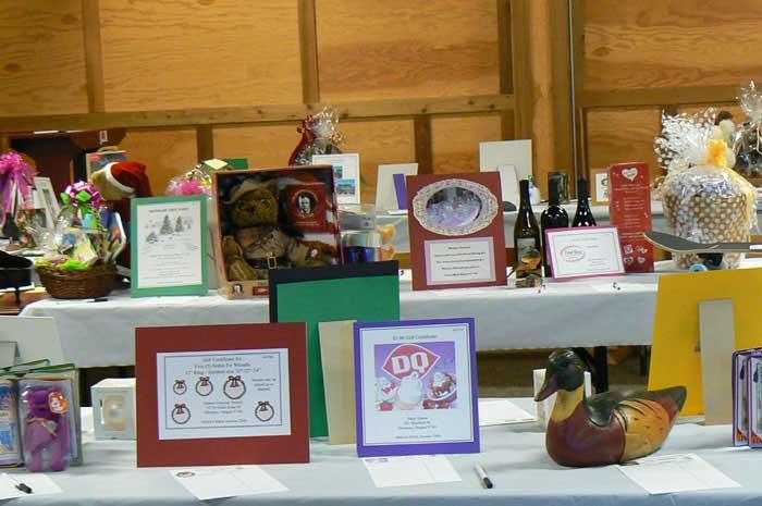 Auction tables at the Silverton High School Alumni Association scholarship fundraiser.
