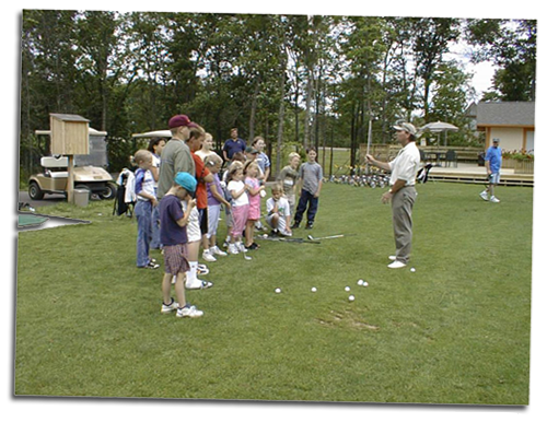 Teaching kids golf at Cragun's Resort in Brainard, Minnesota