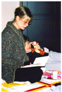 Meg Cox reading to her son, Max.