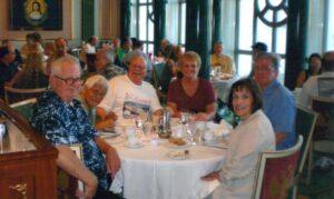 Enjoying the food on the USS Oklahoma reunion cruise