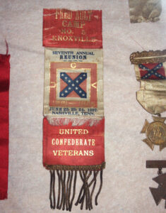 Bleak House has a collection of Civil War reunion badges and ribbons on display. Are they the ancestors of today's nametags?