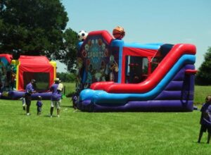 Bounce houses are popular with kids at reunions. This is at the Smith Family Reunion in Garland, Louisiana