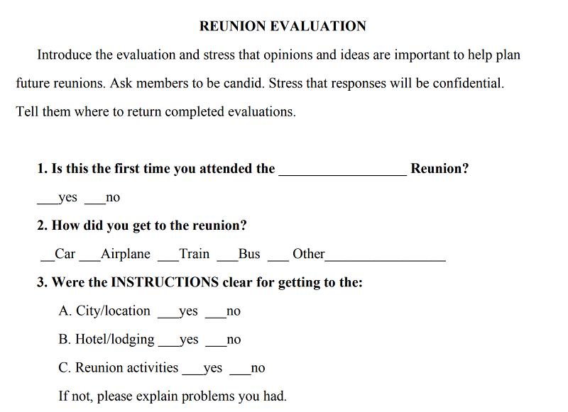 reunion evaluation